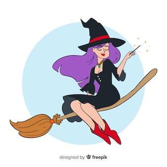 素敵な手描きの魔女キャラクター