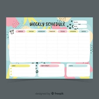 Современный шаблон для недельного планировщика с плоским дизайном