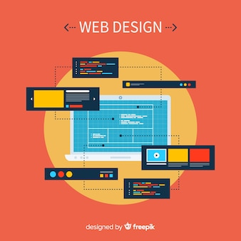 Современная концепция веб-дизайна с плоским стилем