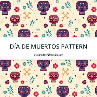 平らなデザインのディア・デ・ミュアトスのパターン