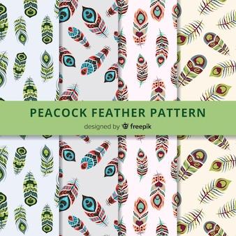 フラットデザインのピーコックフェザーパターンコレクション