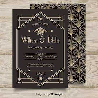 美しいアールデコ結婚式招待状のテンプレートデザイン