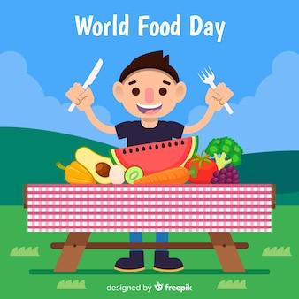 ピクニックの概念を持つ世界の食べ物の日の背景