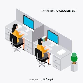 アイソメトリックデザインのコールセンター