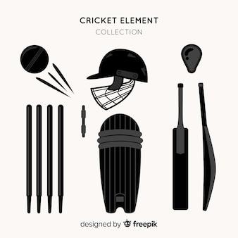 Коллекция силуэтов элементов для крикета