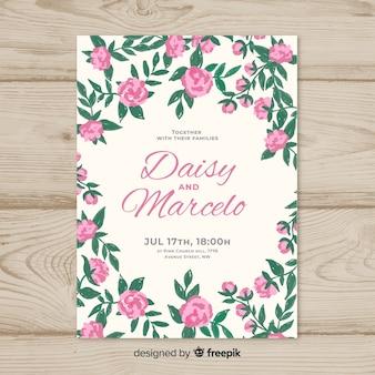 Красивый шаблон приглашения на свадьбу с цветами пиона