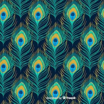 水彩の孔雀の羽のパターンのコレクション