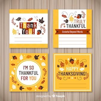 フラットデザインの素敵な感謝カードコレクション