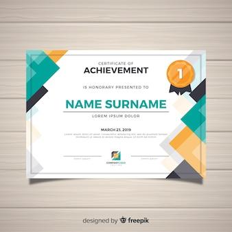 Современный шаблон сертификата в плоском стиле