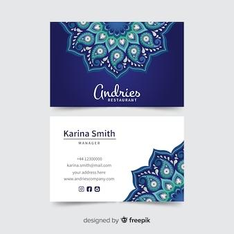 Визитная карточка с дизайном мандалы