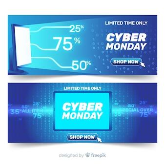 Современные кибер-понедельные баннеры с реалистичным дизайном