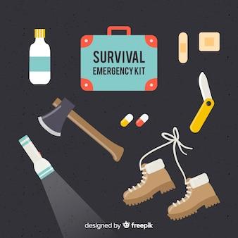 Современный комплект для аварийного выживания в плоском дизайне