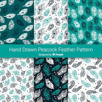 手描きのピーコックフェザーパターンコレクション