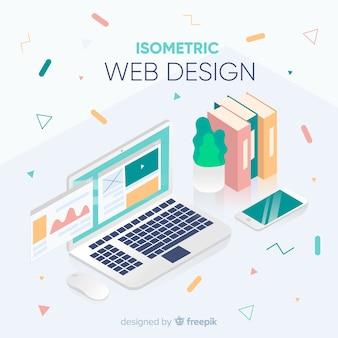 Современная концепция веб-дизайна с изометрическим представлением