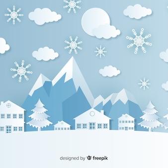 紙のスタイルとエレガントなクリスマスの背景