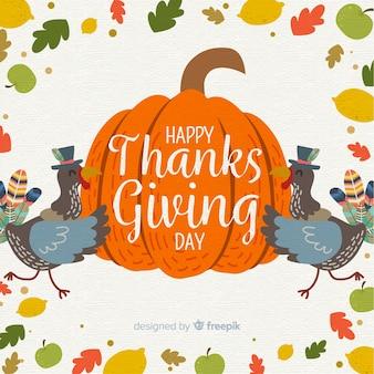 カラフルな手は、感謝の日の背景を描いた
