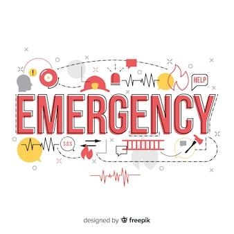 フラットデザインの現代緊急単語概念