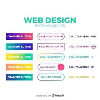 Красочная коллекция кнопок веб-дизайна с плоским дизайном