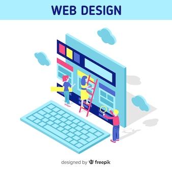 等方性の視点を備えたカラフルなウェブデザイン