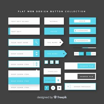 フラットデザインの現代ウェブデザインボタンコレクション