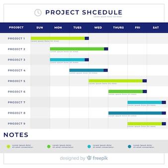平面デザインのカラフルなプロジェクトスケジュールテンプレート