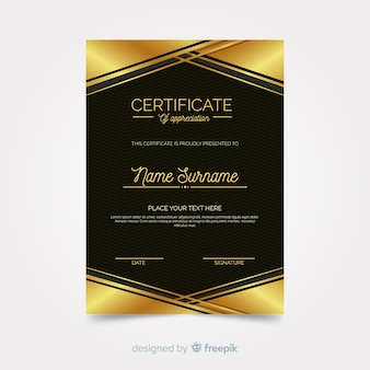 金色の要素を持つエレガントな卒業証書テンプレート
