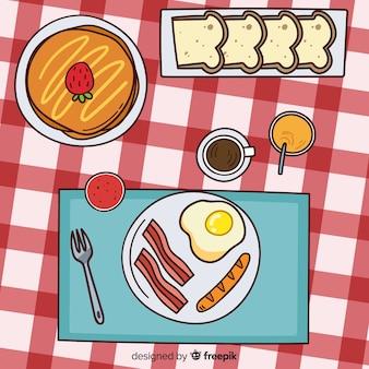 朝食の手描きのイラスト