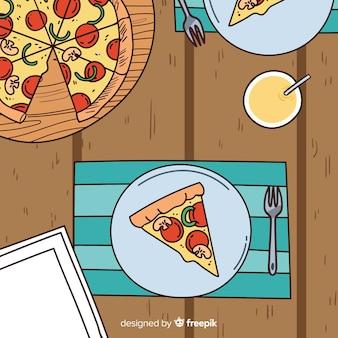 ピザのトップビューのイラスト