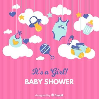 かわいいその女の子のベビーシャワーのテンプレート