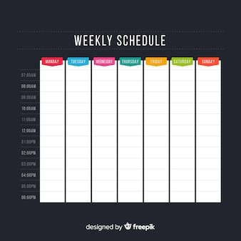 平面デザインのカラフルな週単位スケジュールテンプレート