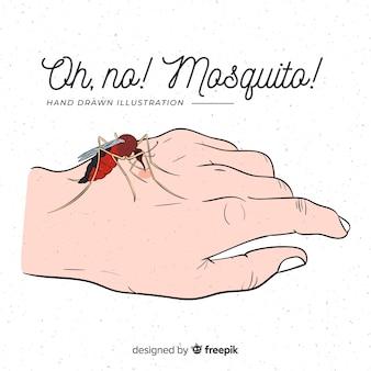 手を噛んだ手で描かれた蚊