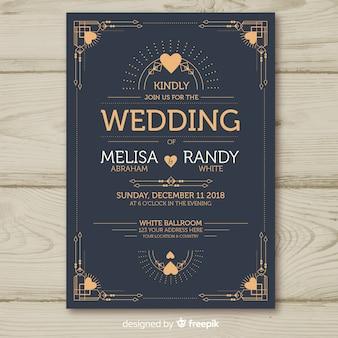 装飾的なアールデコのデザインと結婚式の招待状のテンプレート