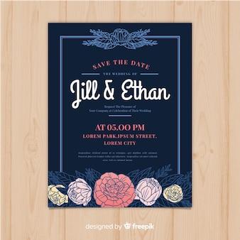 牡丹の花と美しい結婚式の招待状のテンプレート