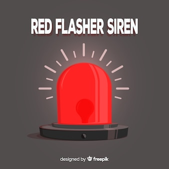 赤いサイレンを点滅させる