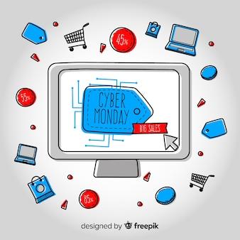 コンピュータによるサイバー月曜日の販売の背景