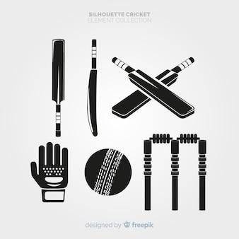 クリケットの要素のシルエットコレクション