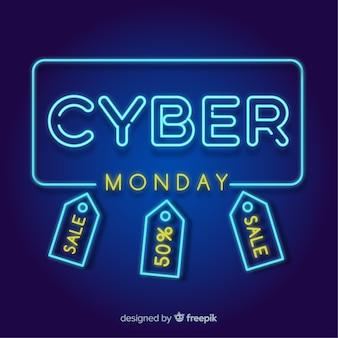 Неоновый стиль продаж кибер-понедельника