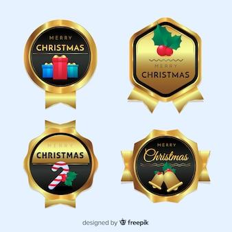 黒と金のクリスマスバッジコレクション