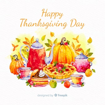Акварель день благодарения фон