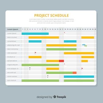 Цветной шаблон графика проекта с плоской конструкцией