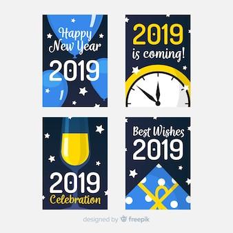 Новогодние карты с плоскими элементами