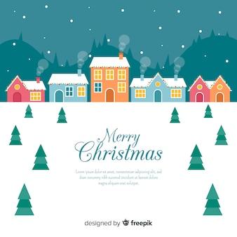 フラットデザインのクリスマスタウンの背景