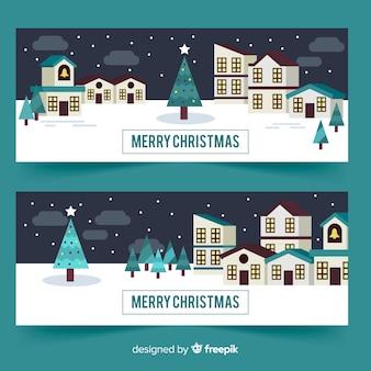 フラットスタイルのクリスマスタウンバナー