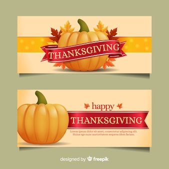 秋の要素が設定された感謝祭の日のバナー