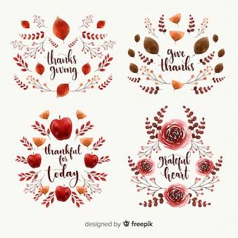 水彩の感謝の日ラベルコレクション