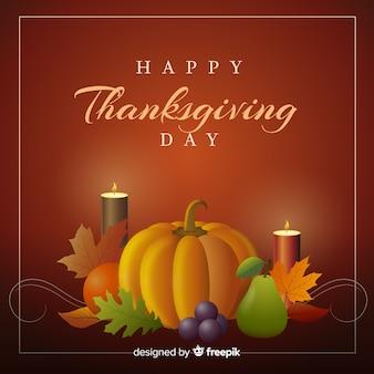 かぼちゃとろうそくと幸せな感謝の背景