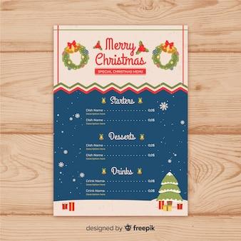 Элегантный шаблон рождественского меню с винтажным стилем