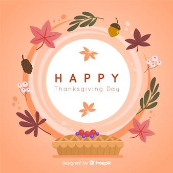 葉と花のフレームと幸せな感謝の背景