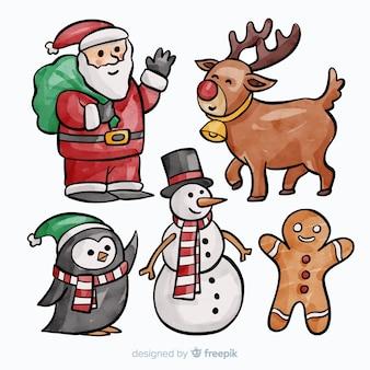 素敵な水彩のクリスマスキャラクターコレクション