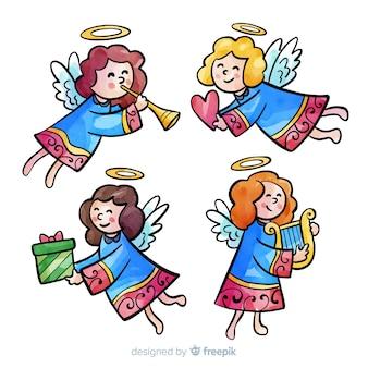 水彩画の天使のコレクションを提供する